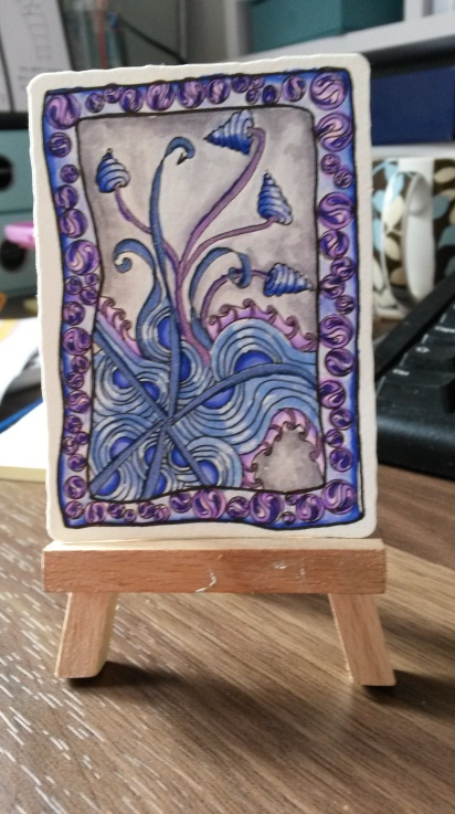 I'm sending this to Michele Wynne as a little mini swap. I tried hard to echo her style with muted colours but I haven't got it right yet.